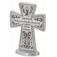 "3""H Standing sponsor cross with dove and decorative design. Says ""Sponsor Thank you for being there, for your help and guidance with love and prayer"". Comes gift boxed."