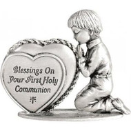 "2-1/4"" x 2"" Kneeling Boy Communion Figurine with Heart. Message on Heart - ""Blessings on Your First Holy Communion"". Hand polished zinc metal. Comes gift boxed."