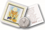 Communion Pocket Coin with gold stamped Holy Card. Packaged in a clear soft pouch