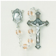 Glass Rose Imitation Capped Pearl Rosary