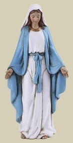 "Our Lady of Grace 4"" Statue.  Resin/Stone Mix. 4""H x 1.875""W x 1.125""D"