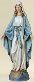 "Our Lady of Grace 14"" Statue. Resin/Stone Mix, Dimensions: 14""H 5.88""W 3.75""D"
