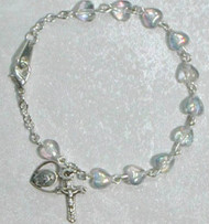 "6.5"" Rosary Bracelet with Crystal Heart Shaped  Beads"