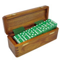 Domino Double six Green in wood box