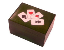 Beautiful wooden card box with painted card suits, hearts, spades, diamonds and clubs.