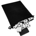 Domino Double Six Black & White in Velvet Bag