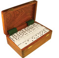 "Tournament size (2"" x 1"" x 1/2"")  Dominoes with Spinners, for easy mixing. Packed luxuriously in a wood box with dove tail joints."