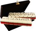 Domino Double Six Two Tone Red and White with Spinners in Velvet Case