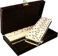Domino Double Six Two Tone Black and White with Spinners in Velvet Case