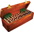 Domino Double Six Black in Dovetail Jointed Sheesham Wood Box Jumbo Tournament Size with Spinners