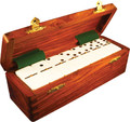 Domino Double Six White in Dovetail Jointed Sheesham Wood Box Jumbo Tournament Size with Spinners