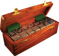 Domino Double Six Silver in Dovetail Jointed Sheesham Wood Box Jumbo Tournament Size with Spinners