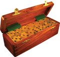Domino Double Six Gold in Dovetail Jointed Sheesham Wood Box Jumbo Tournament Size with Spinners