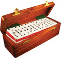 Domino Double Six Two Tone Red and White in Dovetail Jointed Sheesham Wood Box Jumbo Tournament Size with Spinners