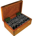 Domino Double Nine Black in Dovetail Jointed Sheesham Wood Box Jumbo Tournament Size with Spinners