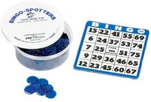 Bingo card shown in blue.  Bingo chips not included.  Please use item# 1136 when ordering bingo chips.