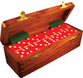 Domino Double Six Red in Dovetail Jointed Sheesham Wood Box Jumbo Tournament Size with Spinners