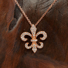 Fleur De Lis Pendant in 18K Rose Gold with 0.28ct Diamonds DS772R