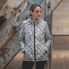 Moke 'Marble Patterned' Packable Duckdown Jacket with Hood