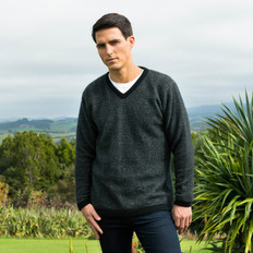 Koru Merino - Possum Striped Mens V Neck Jumper
