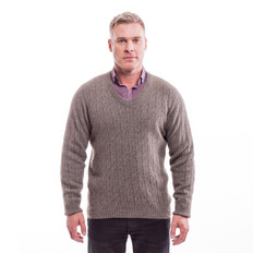 McDonalds Merino - Possum Cable V Neck Jumper