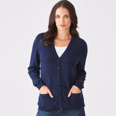 Royal Merino V Neck Textured Stripe Cardigan
