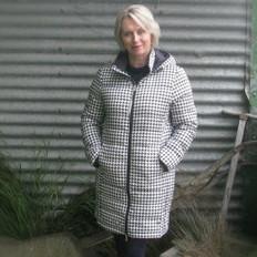 Moke Packable Duckdown Coat with Hood- Houndstooth