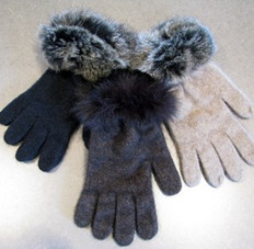 'Koru' Fur Trimmed Merino Wool and Possum Fur Gloves