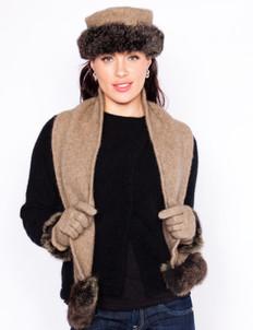 Koru Merino Wool, Possum Fur & Silk Hat with Fur Trim