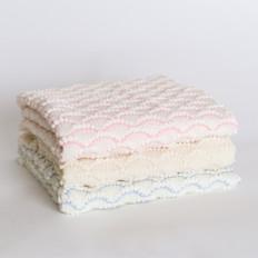 Tudor Knits  Merino Wool Scalloped Baby Shawl