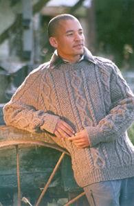The Tin Shed Handknit ' Leslie' Pure Wool Aran Sweater