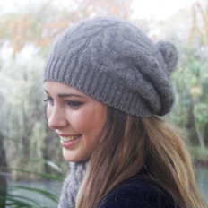 Lothlorian Possum & Merino Cable Beanie with Fur Pompom