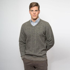Noble Wilde 'Bowen' Merino - Possum V Neck Cable Sweater