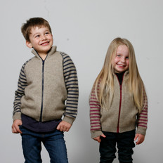 Possumdown Merino - Possum Kids Striped Zip Jacket