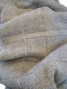 Stansborough Grey Wool Chequer Pattern Throw