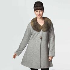 Possumdown Merino - Possum Tweed Coat with Fur Collar