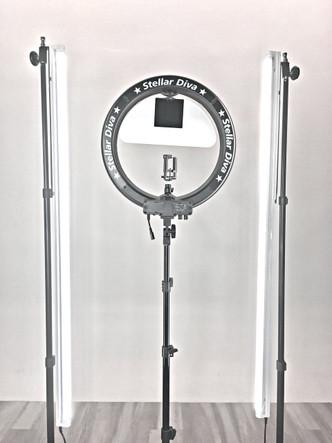 ... Full Lighting Kits; Stellar XLED Diva Ring Light 18  + Linear Panel Kit. Image 1 & Stellar XLED Diva Ring Light 18
