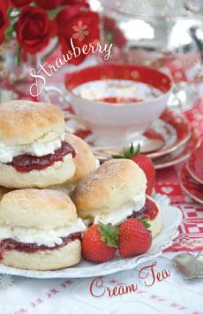 Naughty but nice Strawberry cream Tea card recipe inside