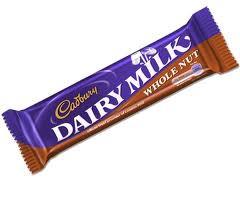 Cadburys Dairy Milk Whole nut Chocolate bar 49g