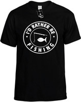 I'd Rather be Fishing with Pole (round badge) Novelty T-Shirt