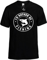 I'd Rather be Fishing with Shark (round badge) Novelty T-Shirt