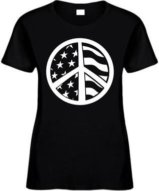 AMERICAN FLAG PEACE SIGN) Novelty T-Shirt