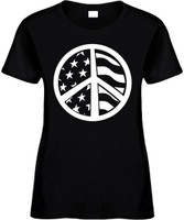 AMERICAN FLAG PEACE SIGN) Novelty T-Shirt