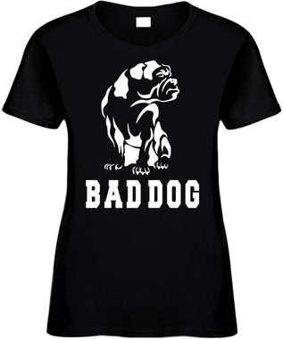 BULLDOG BAD DOG (animal) Novelty T-Shirt