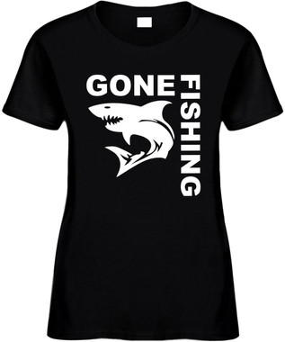 GONE FISHING (with Shark) Novelty T-Shirt