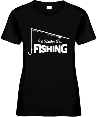 I'd Rather be fishing (with pole) Novelty T-Shirt