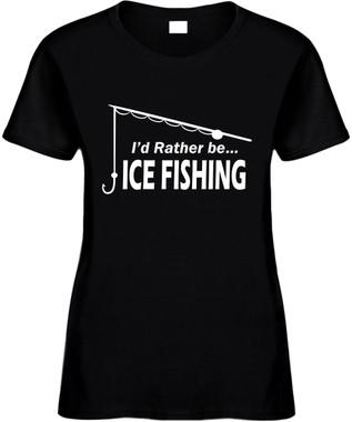 I'd rather be ice fishing (pole) Novelty T-Shirt