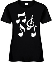 Music Notes (with Hearts) Novelty T-Shirt