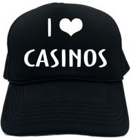 I LOVE (HEART) CASINOS Novelty Foam Trucker Hat