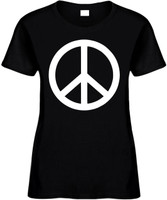 WHITE PEACE SIGN Womens Tees Novelty Funny T-Shirts